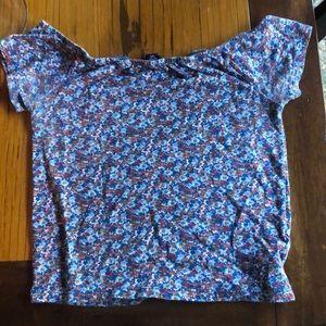floral off the shoulder shirt